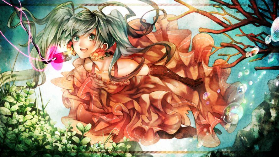 art vocaloid hatsune miku girl vocaloid under water a microphone bubbles wallpaper