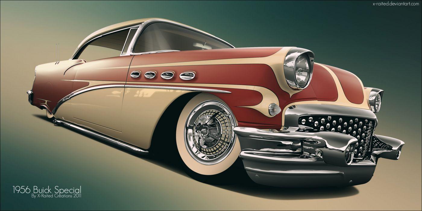 Buick  retro  art retro lowrider custom wallpaper