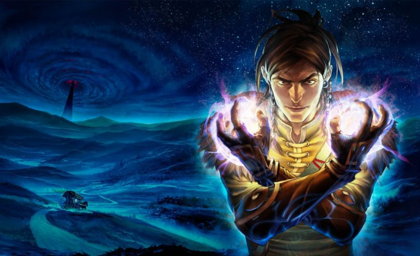 Fable The Journey night man magic road wagon spire tower wallpaper