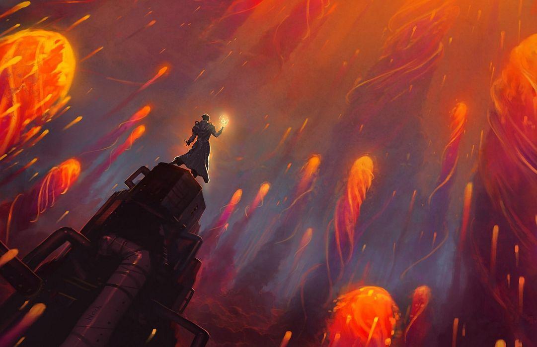 magic  fire hell lava fantasy wallpaper
