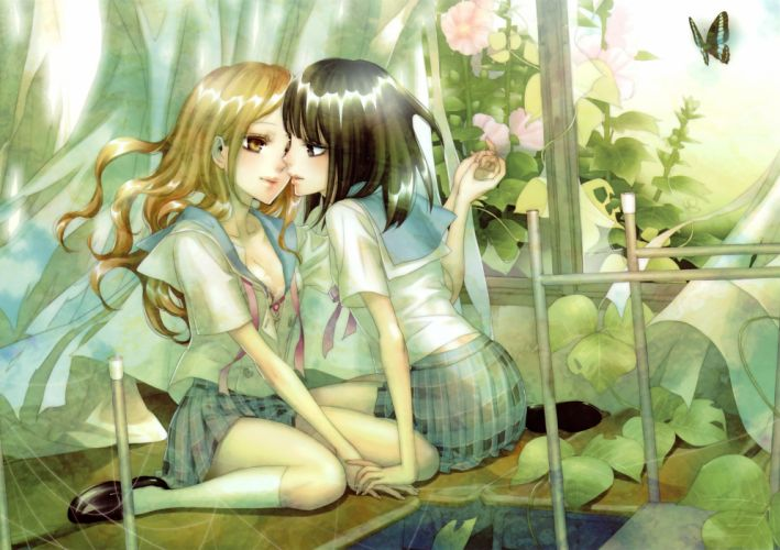 original mood love girl schoolgirl butterfly nature window lace thread web wallpaper