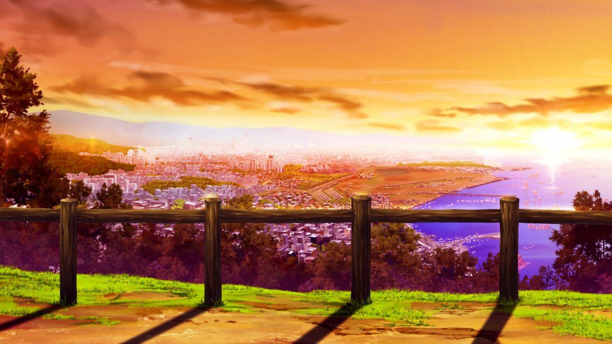 Gensou No Idea City Game Cg Landscape Scenic Sunset Wallpaper