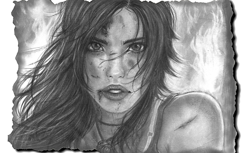 Lara Croft Tomb Raider Art Drawing Girl Face Eyes Lips Hair Eyes