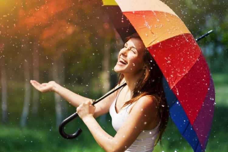 mood girl brunette smile joy positive happy fun umbrella umbrella color rain rain drops summer sun wallpaper