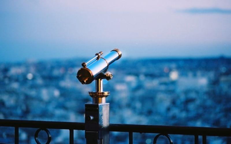 nature mood pipe telescope sky blue city scenic wallpaper