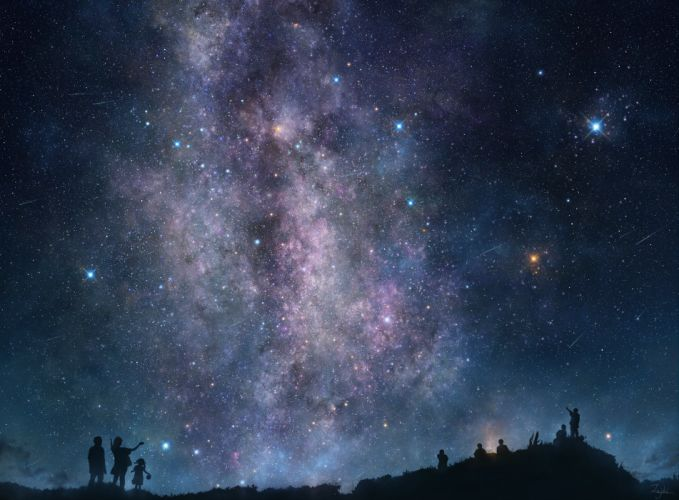 original grass iy tujiki night signed silhouette sky stars mood wallpaper