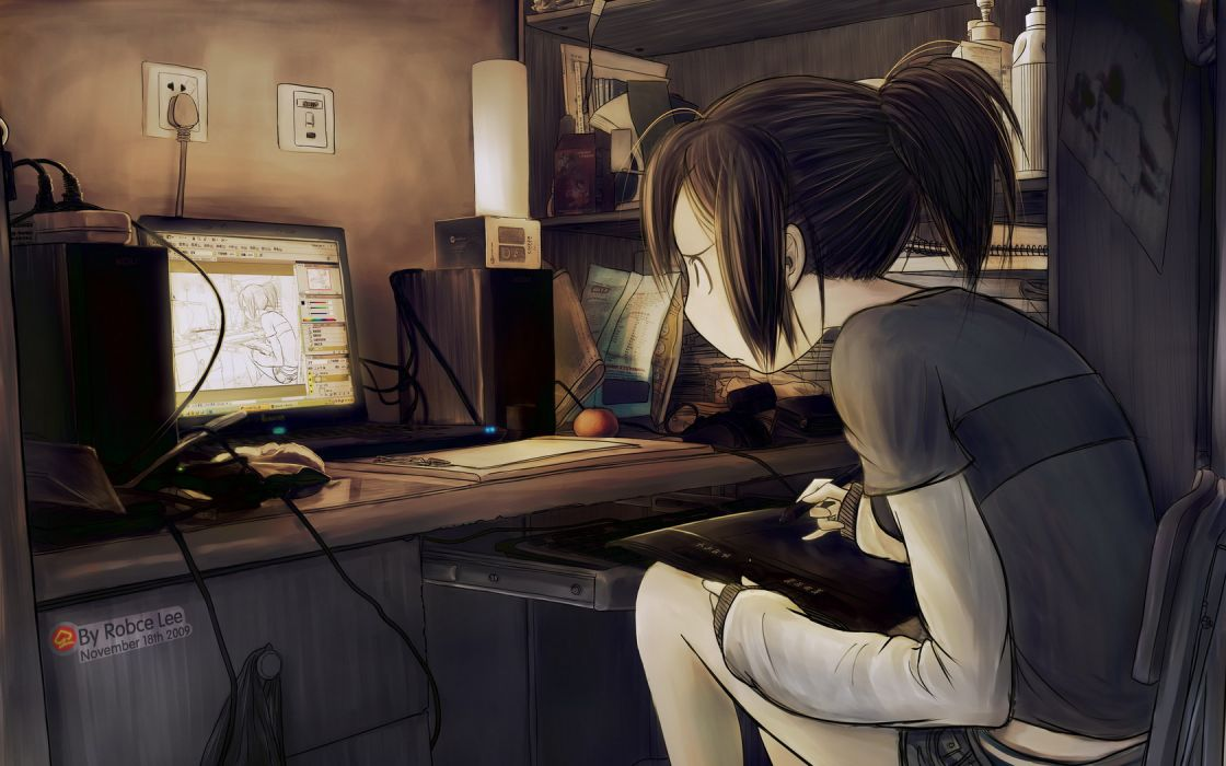 Original tablet computer drawing girl art anime wallpaper