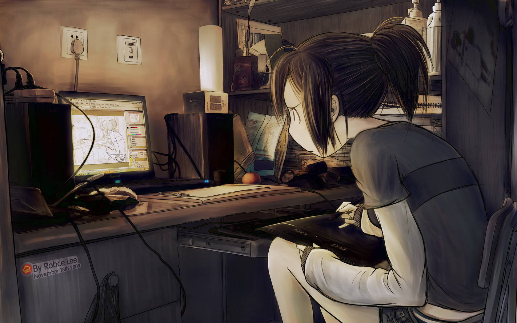 Original Tablet Computer Drawing Girl Art Anime wallpaper ...