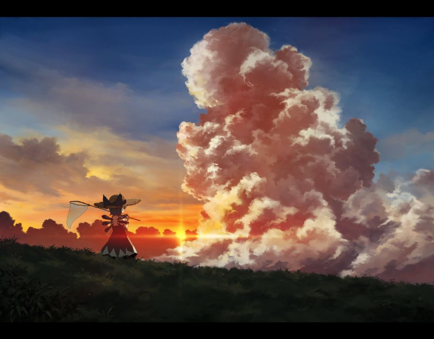 touhou cirno clouds hat landscape sasajqazwsx scenic summer touhou wallpaper
