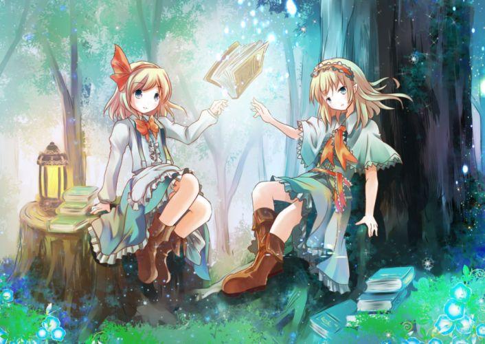 touhou girls alice margatroid blonde hair book boots dress headdress risutaru touhou tree wallpaper