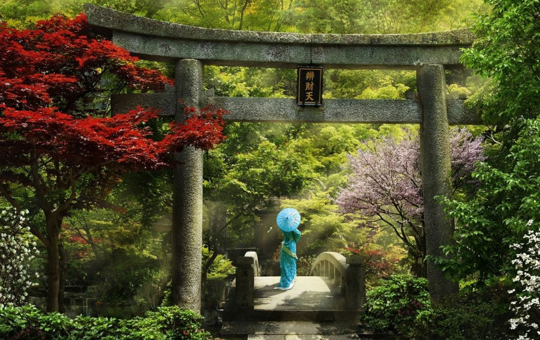 women japan paintings wood bridge wallpaper
