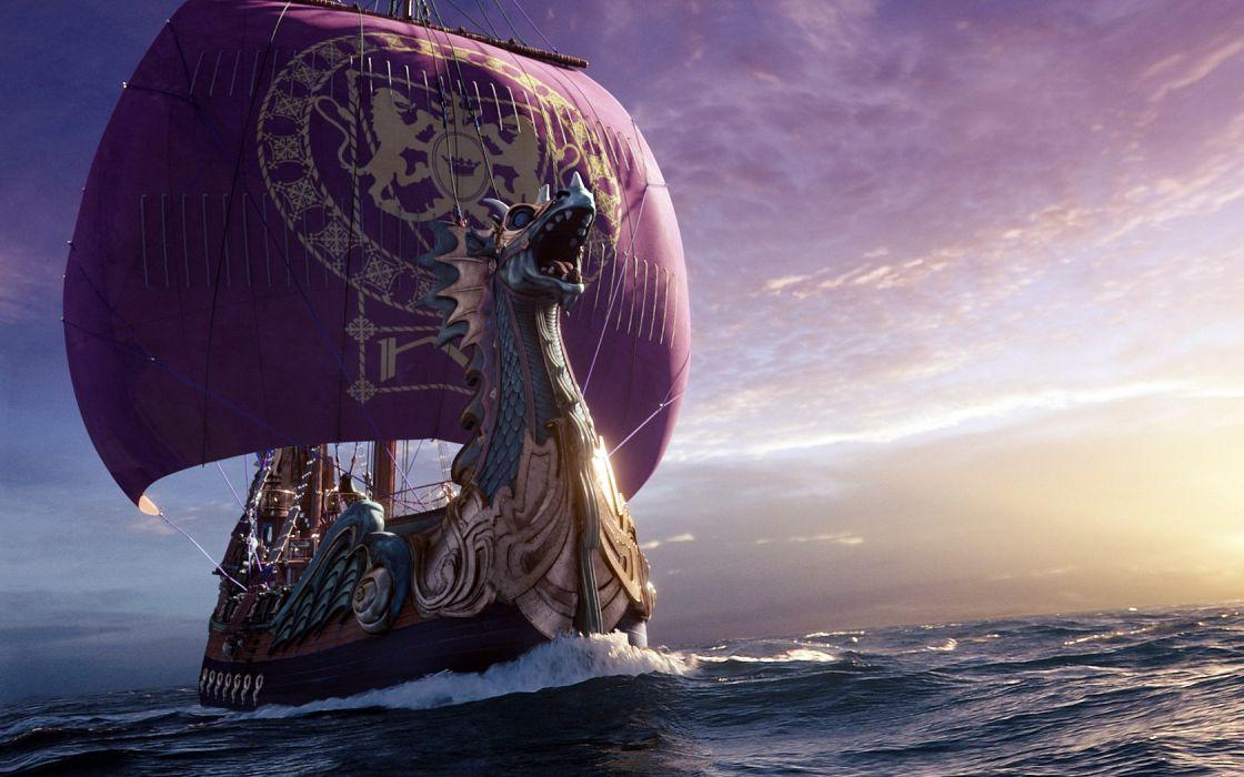 Painting Viking Long Ship wallpaper