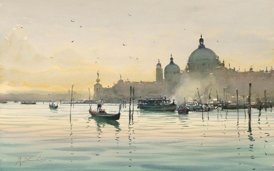 Painting Venice Sea City Gondola wallpaper
