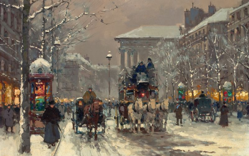Painting City Winter People Street Carriages wallpaper
