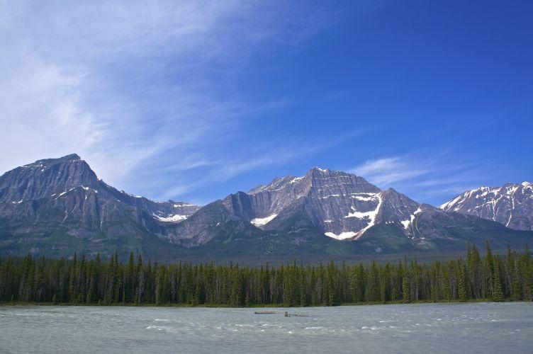 mountain forest sky river landscape wallpaper