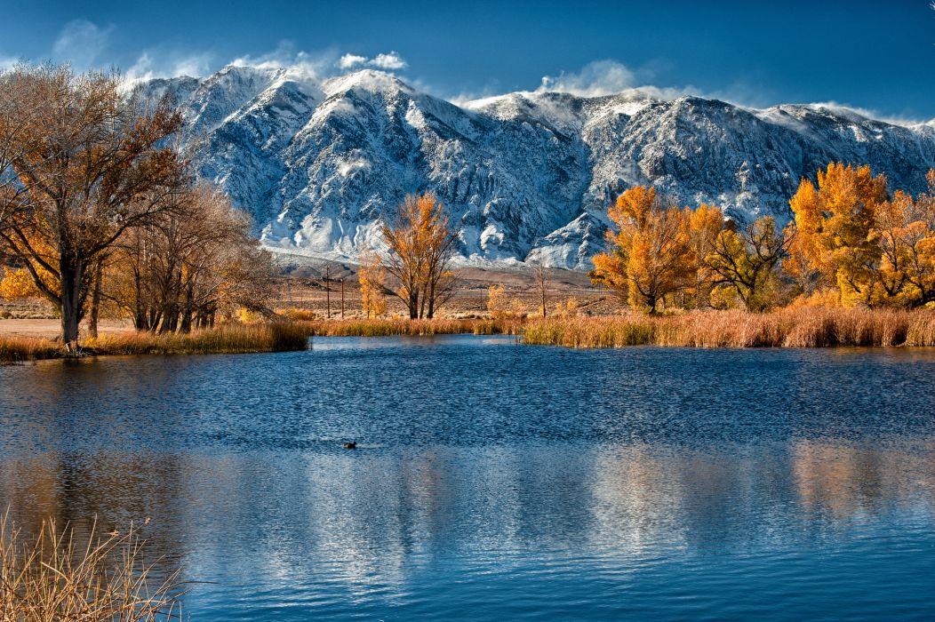 mountain lake autumn trees cane wallpaper