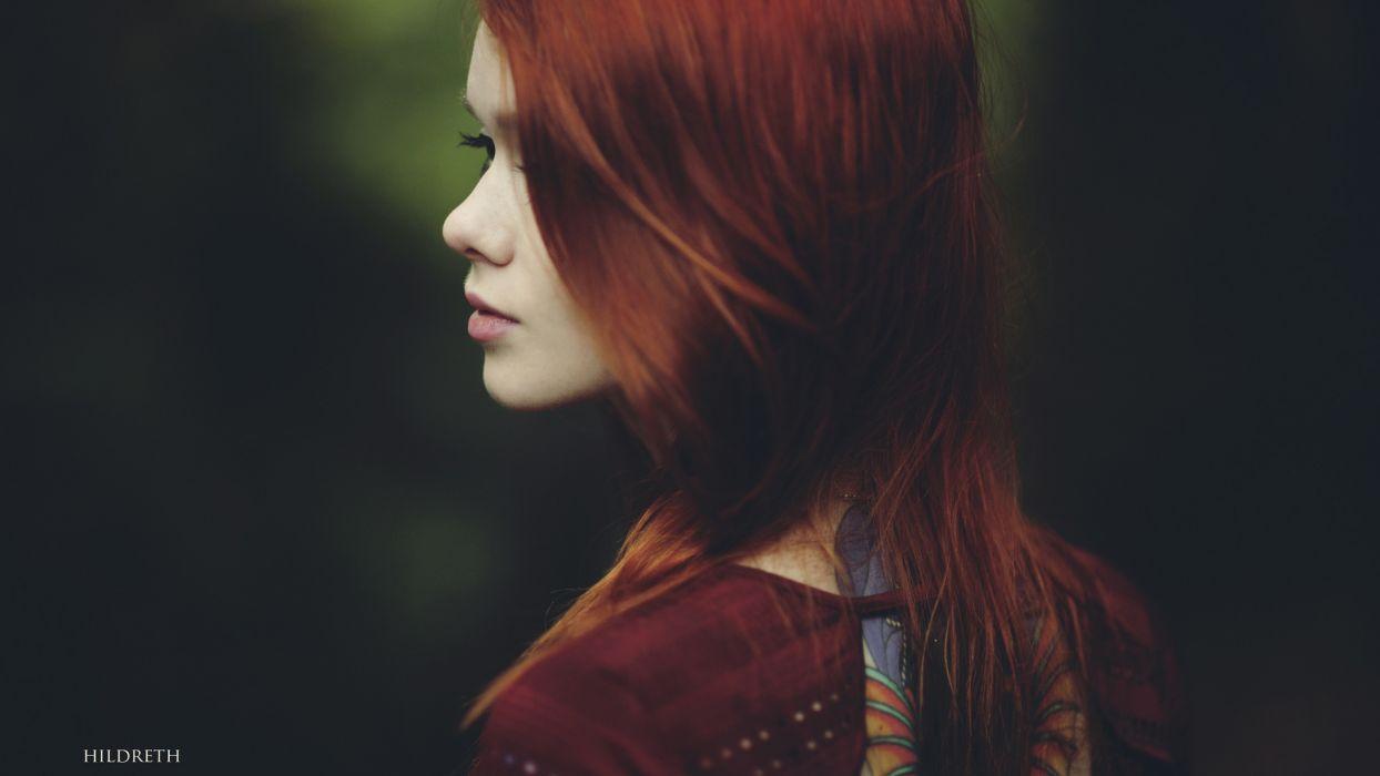 Redhead hair eyes face wallpaper