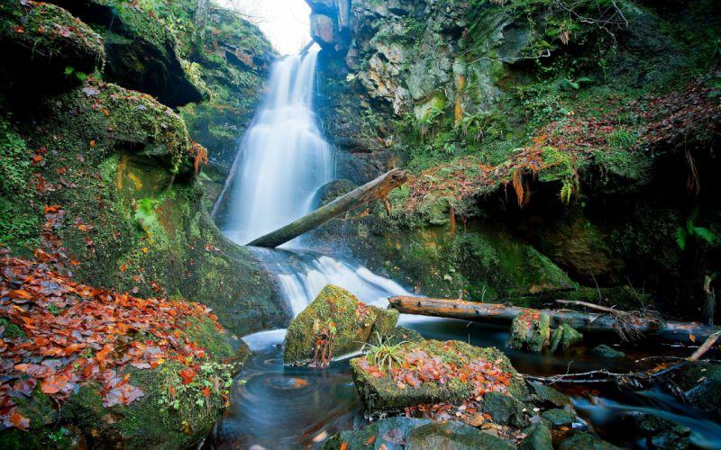 Scotland waterfall rocks leaves logs wallpaper