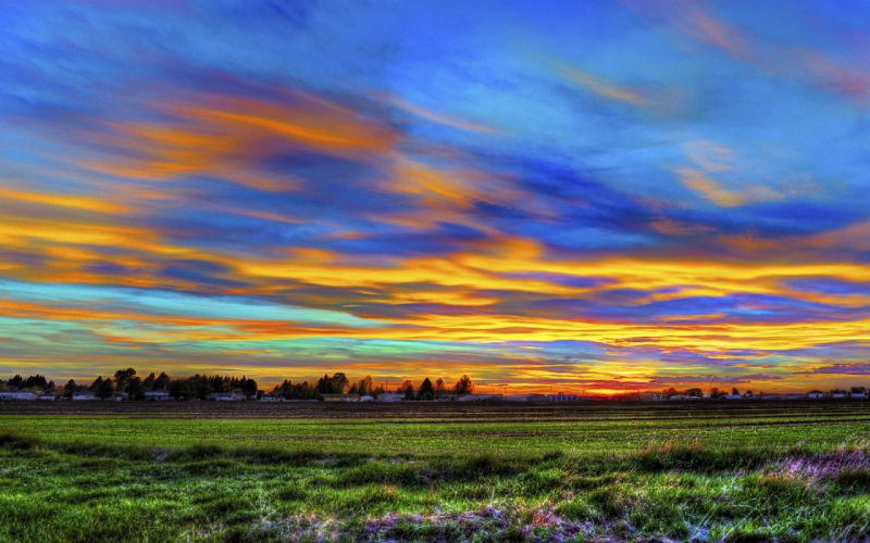 sunset sky field house landscape panorama hdr wallpaper