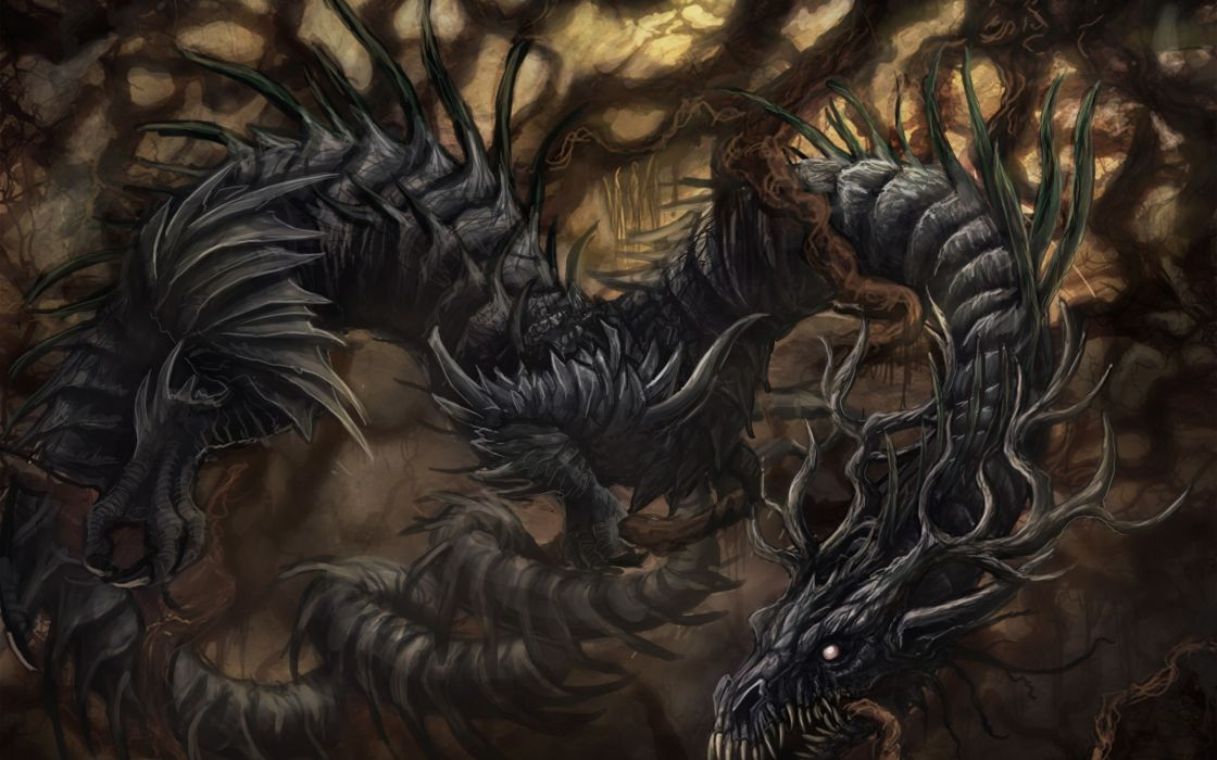 Art dragon roots trees branches curves fall dragons ...