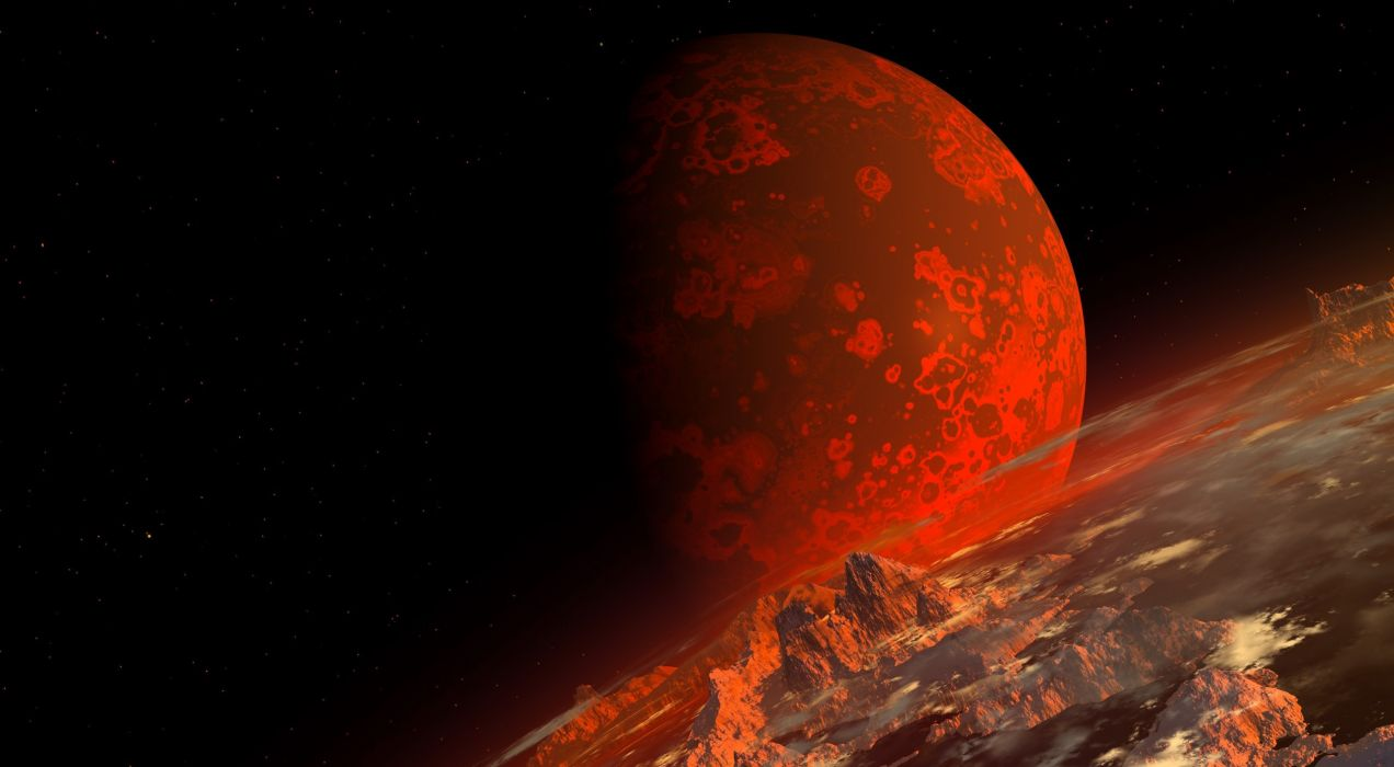 art render space planet terrain topography red wallpaper