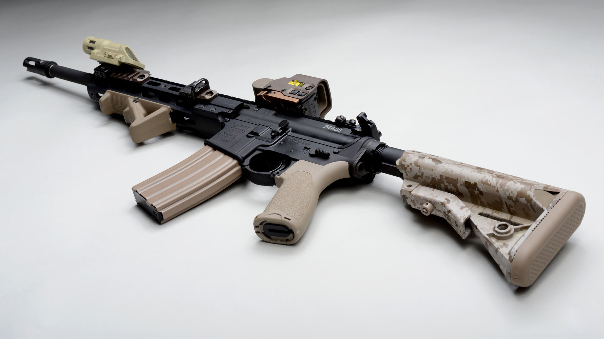 Automatic Ar 15 Assault Rifle Weapon Gun Military Wallpaper