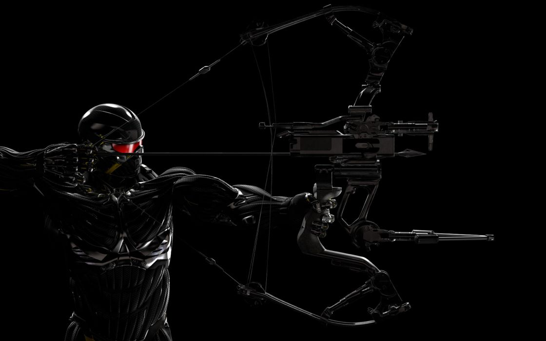 Crysis 3 black background man bow armor wallpaper