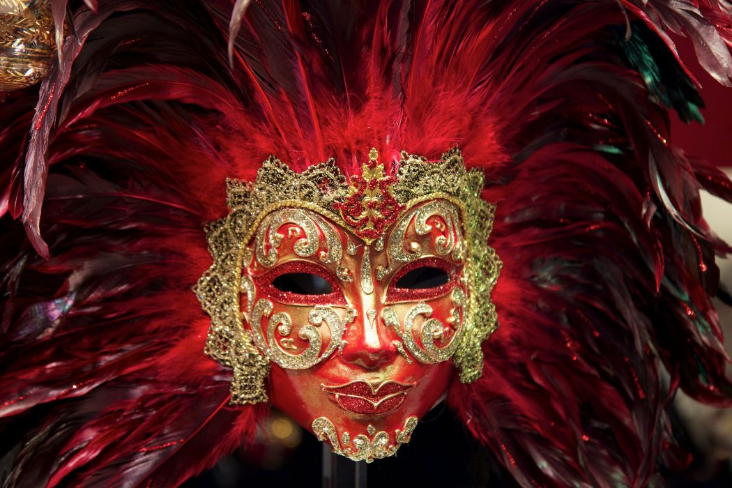 feathers mask paint masquerade color bokeh wallpaper