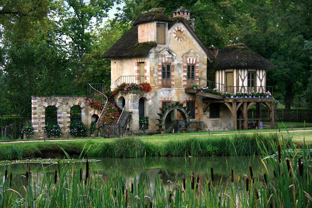 home village the queen Marie Antoinette Versailles France forest summer green pond wallpaper