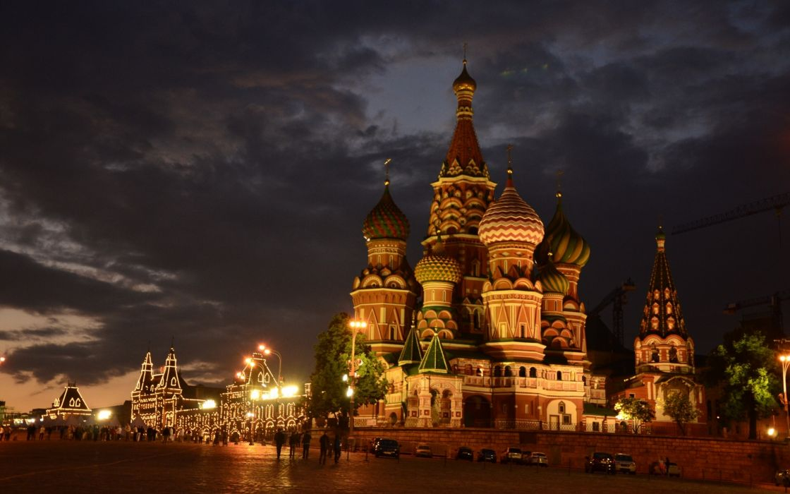 Moscow Russia St_ Basil's Cathedral Red Square night city temple cathedral wallpaper