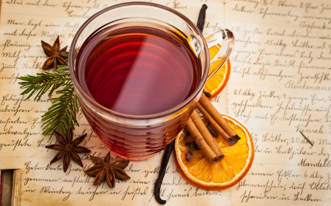 mulled wine beverage tea cup spices orange cinnamon vanilla anise star anise wallpaper