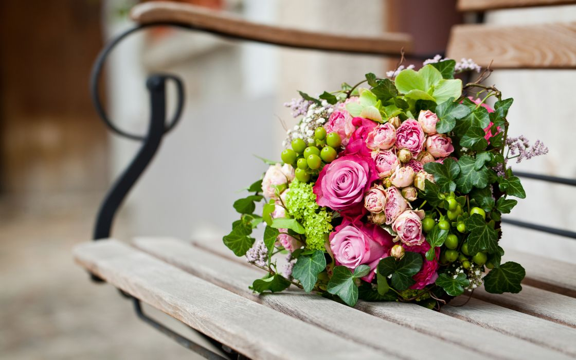 pink flowers bouquet leaves roses bench bokeh wallpaper