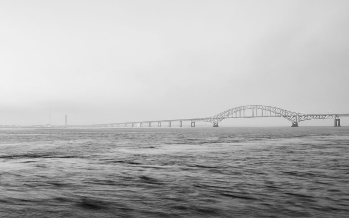 river  bridge  minimalism fog wallpaper