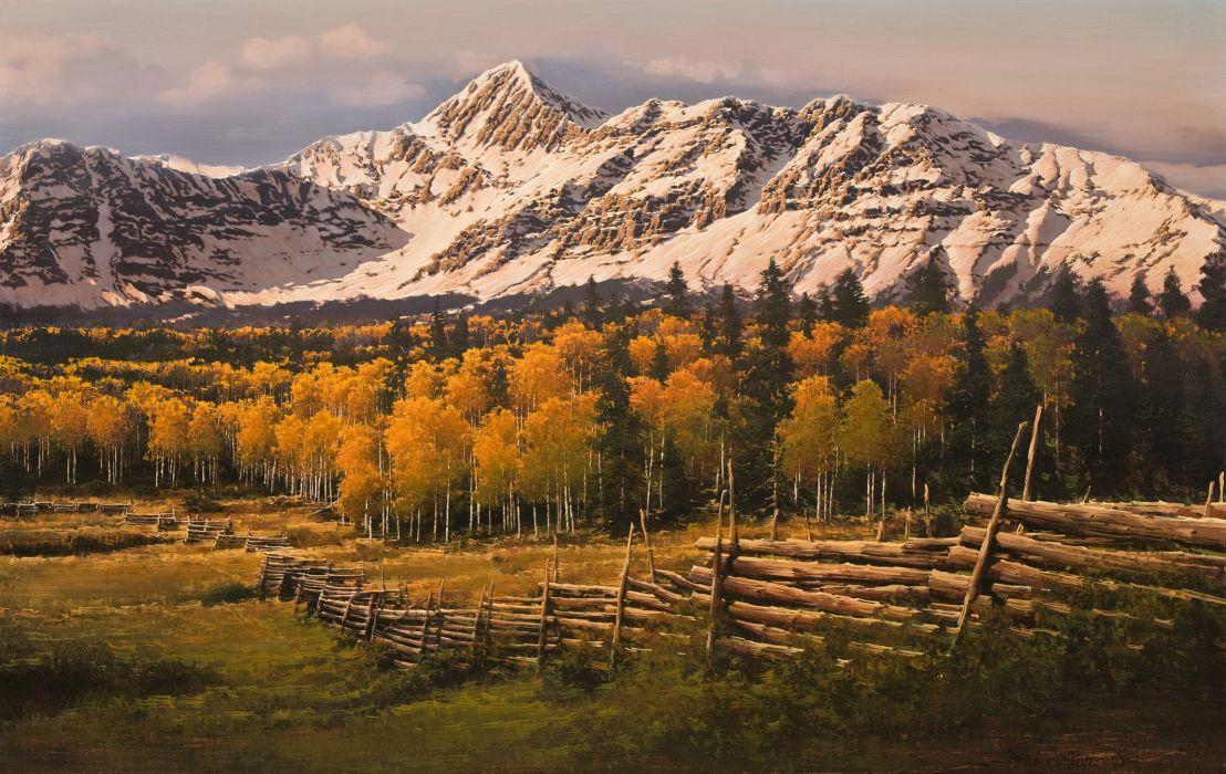 San Juan Range painting autumn landscape forest autumn mountains snow birch trees fence wallpaper