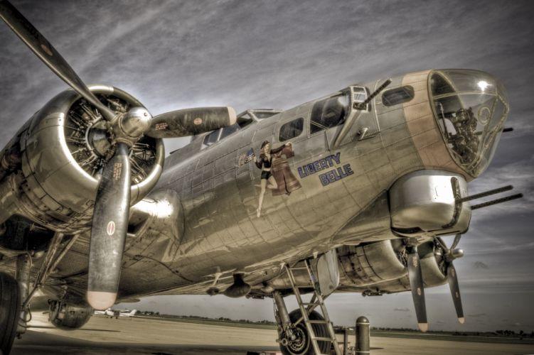 Airplane Plane Nose Art HDR Propeller military wallpaper