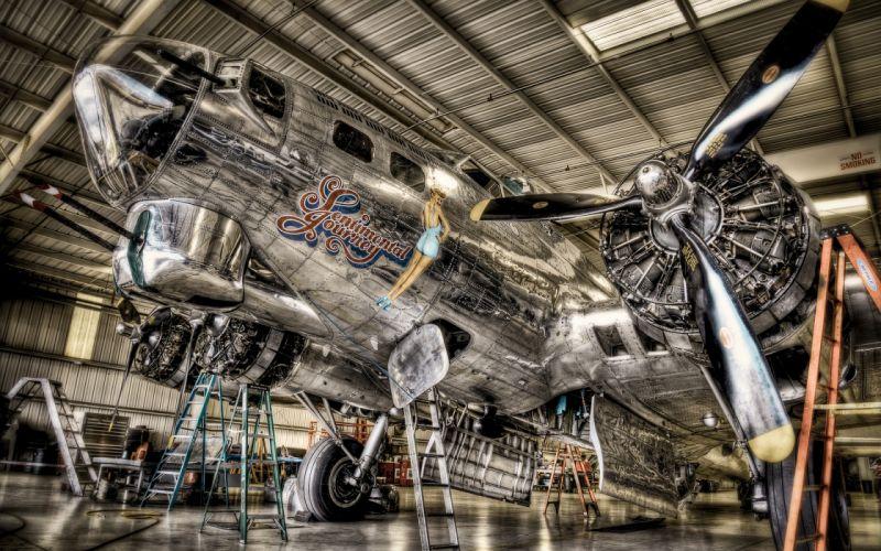 Airplane Plane Nose Art HDR Propeller military engine wallpaper