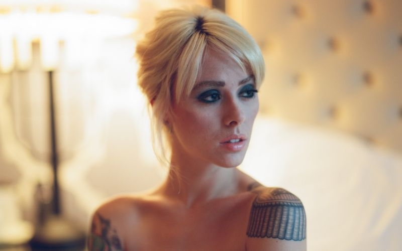 Alysha Nett Blonde Tattoos Face Tattoo wallpaper