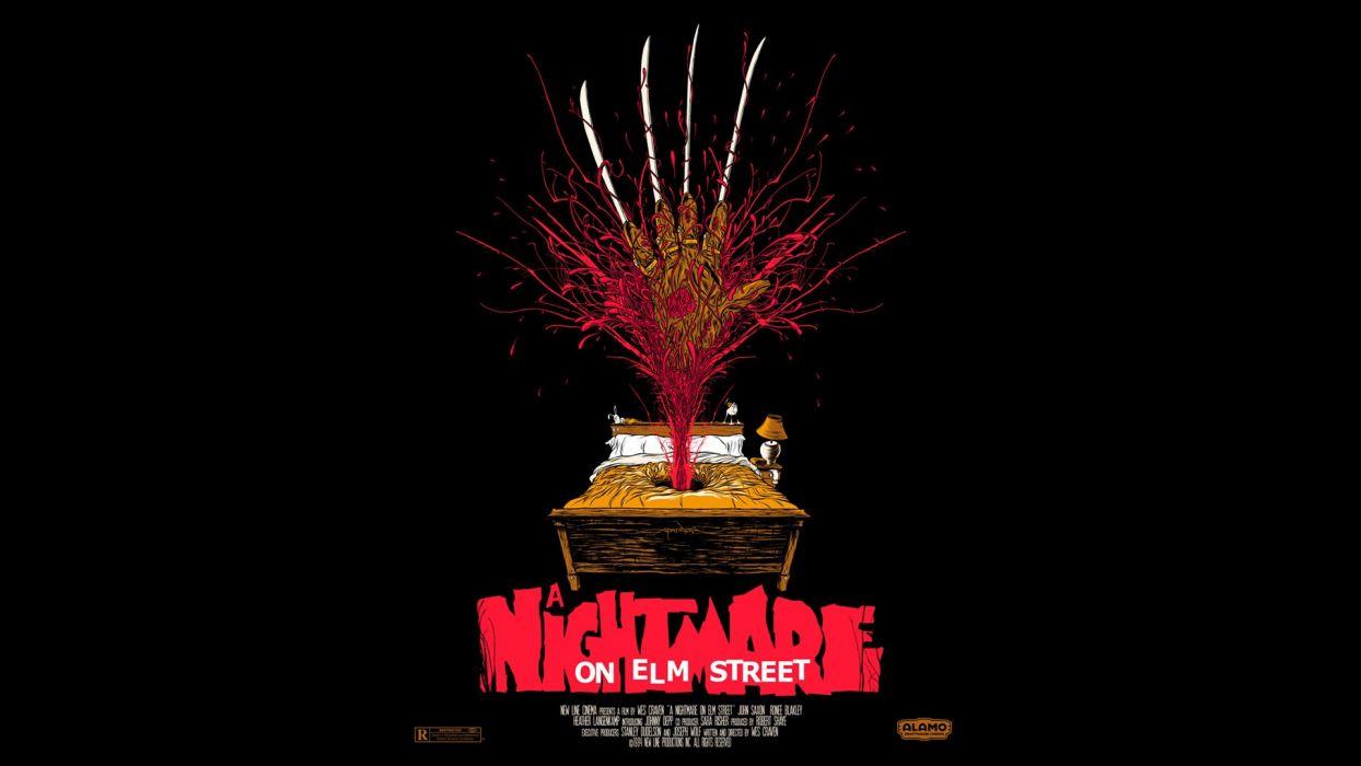 Nightmare on Elm Street Black Freddy Krueger Blood Bed poster posters wallpaper