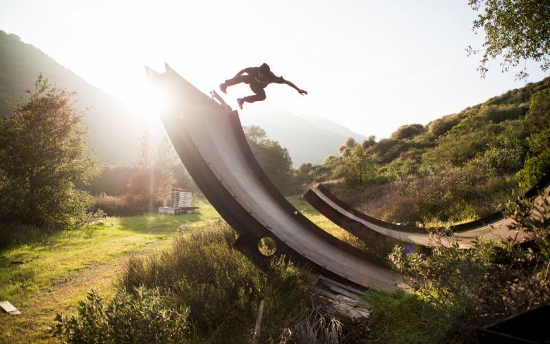 Skateboard Skateboarding Jump Stop Action Sunlight Ramp wallpaper