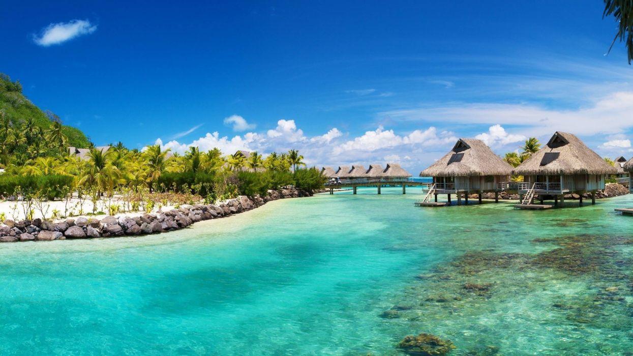Caribbean sea sky bungalows wallpaper