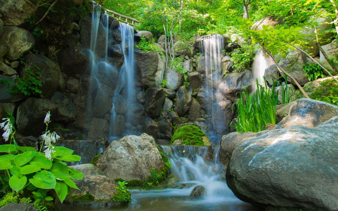 river waterfall rocks plants trees nature wallpaper