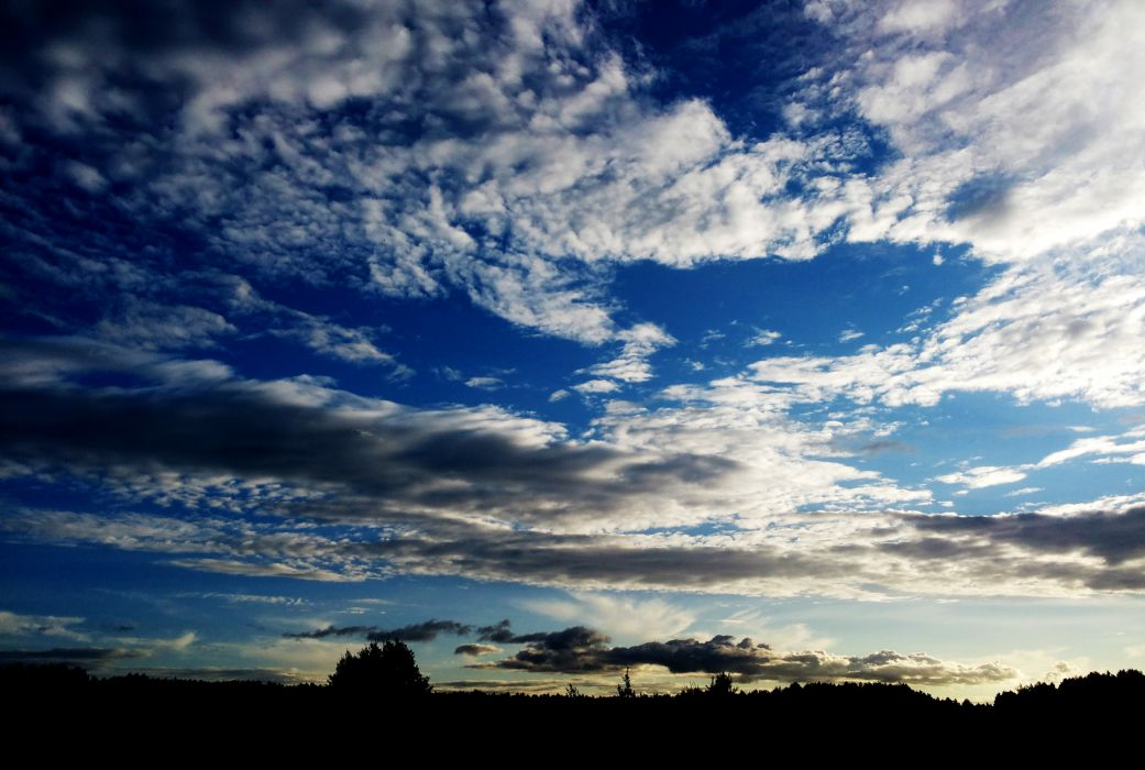 sunset sky silhouette clouds nature wallpaper