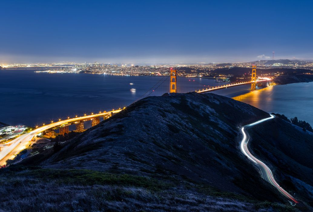 Bridges USA Night San Francisco California Cities wallpaper