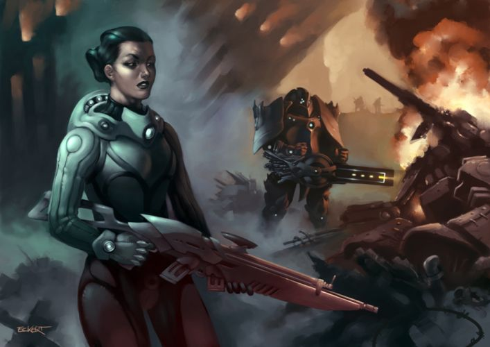 Warrior Rifle Armor Fantasy Girl robot battle mecha sci-fi wallpaper