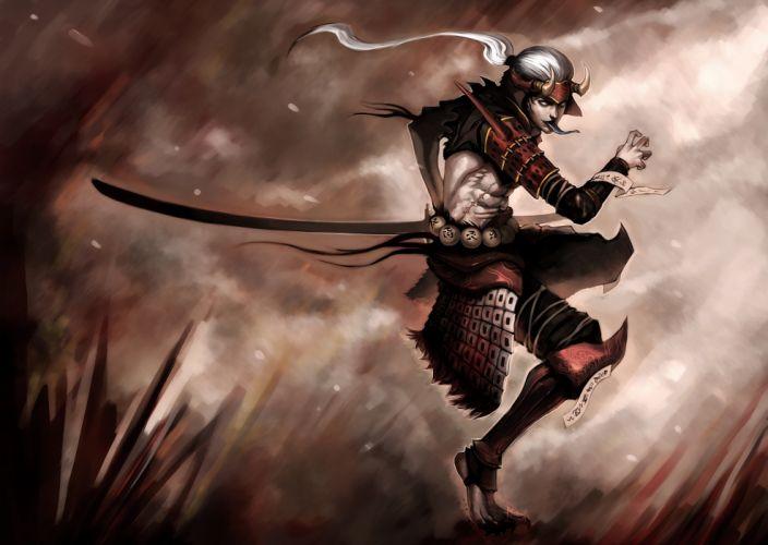 Warriors Men Sabre Fantasy warrior demon dark wallpaper