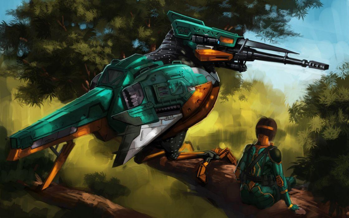 bird kingfisher robot sniper girl mecha gun weapon wallpaper