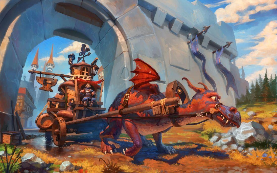 dragon castle medieval cart steampunk wallpaper
