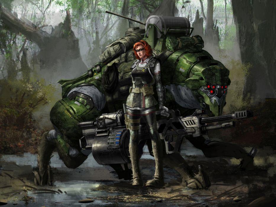 girl warrior robot monster mecha wallpaper