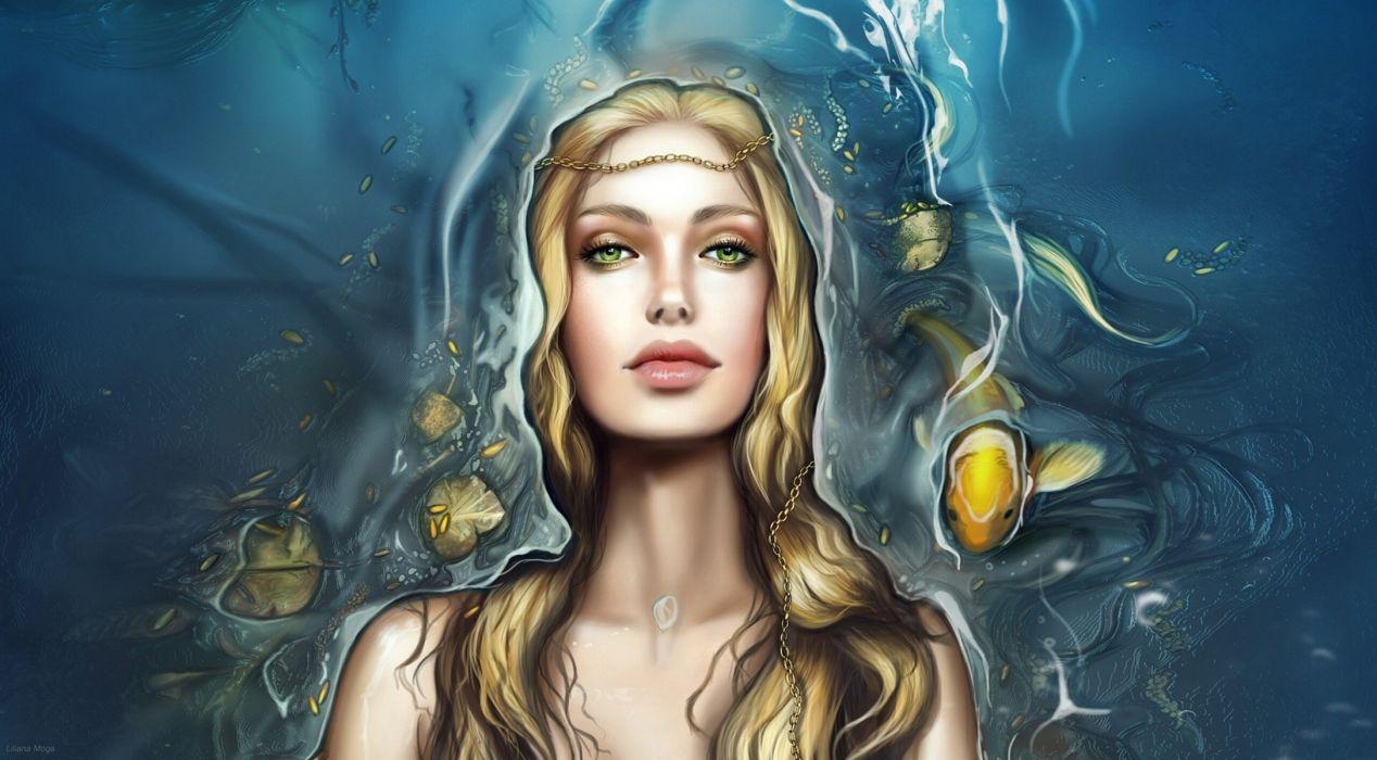 Liliana Moga Undine mermaid fish girl blonde underwater wallpaper