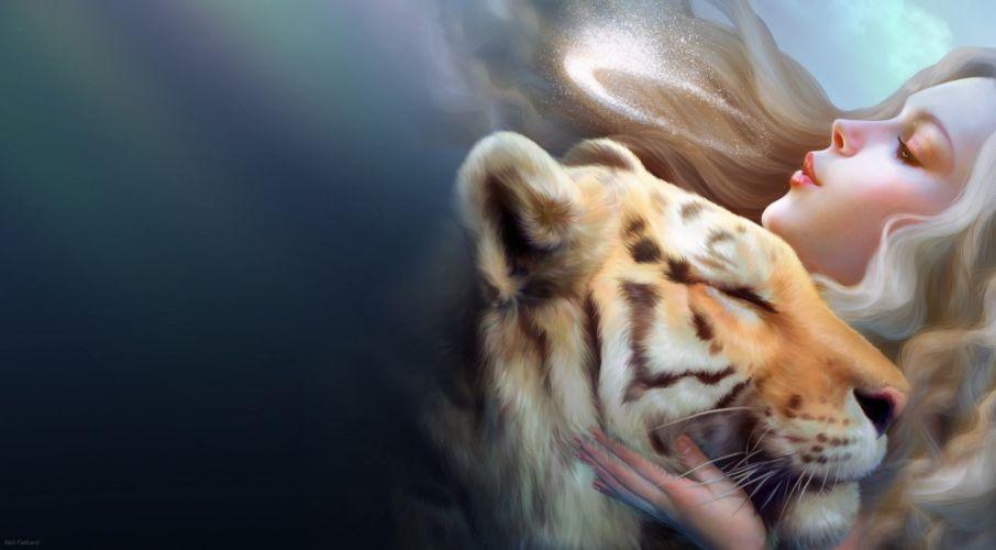 Nell Fallcard girl tiger magic wallpaper